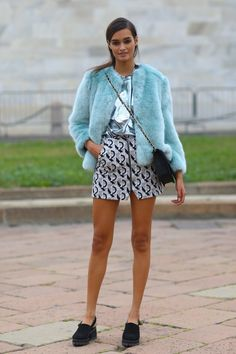 Pastel-blue fur, metallics, and slingback chunky clogs at MFW.