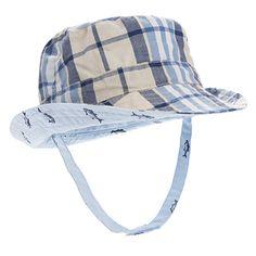 Touch Fastener Chin Strap Old Navy Blue /& White Plaid Toddler Sun Hat