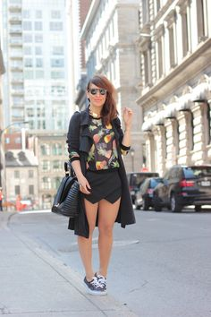 Vans Authentics spotted on the street via The little world of fashion blog. / Great mix of dress and casual.