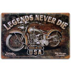 Placa Decorativa Legends Never Die em Metal - 30x20 cm | Carro de Mola - Decorar faz bem.