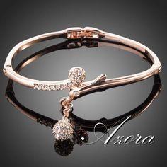AZORA Rose Gold Color Full Stellux Austrian Crystal Round Pendant Bangle Bracelet TB0012
