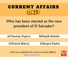 Choose the right option and comment down. Current Affairs Quiz, New President, Question Of The Day, Choose The Right