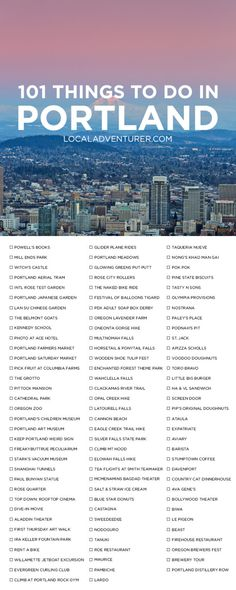 101 Things to Do in Portland Oregon { click through to get printable version } - the Ultimate Portland Bucket List - from the touristy spots everyone has to do at least once to the spots a little more off the beaten path. Oregon Travel, Travel Usa, Moving To Portland Oregon, Oregon Hiking, Travel Portland, Oregon Vacation, Backpacking Oregon, Oregon Coast Roadtrip, Portland Hikes