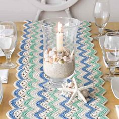 Ravelry: Sand, Sea & Sky Table Runner pattern by Patsy Harbor (need to buy magazine)