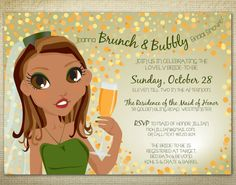 Brunch & Bubbly bridal shower or bachelorette party invitation by EAlexDesigns. https://www.etsy.com/listing/229207103/printable-brunch-bubbly-bridal-shower