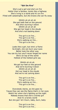 This Girl is on fire . By Alicia Keys A song you always have to turn up loud - My Music - Girls Great Song Lyrics, Fire Lyrics, Lyrics And Chords, Song Lyric Quotes, Music Lyrics, Songs To Sing, Music Quotes, Music Songs, My Music