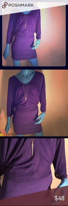 "Marciano NWOT sexy and stylish Purple Dress Beautifully designed &fashion forward styled dress by Marciano. Can be worn as seen as dress or worn over sleek black slim fit pants/leggings or white slim fit jeans/pants as a top. Very versatile casual/dressy! It's stretch fit from waist to hem, making for a perfect fit, slimming &lifting 4 legs &bottom. Length- 33.5"" Material- 73% rayon, 22% nylon, 5% spandex sized at xs, but easily fits small due to the relaxed top and stretch style bottom…"