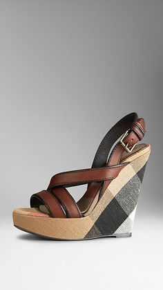 Canvas Check Platform Wedges | Burberry Más