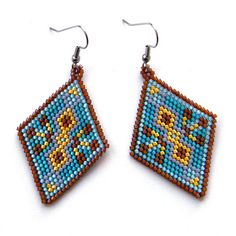 Turquoise  Seed Bead Earrings  beaded jewelry by Anabel27shop