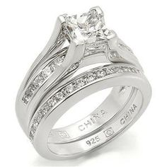 How do I get Sterling Silver Princess Cut One Carat Engagement & Wedding Ring Set | Buy Cubic Zirconia Engagement Rings