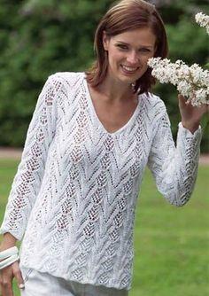 Ажурный узор спицами для женского пуловера