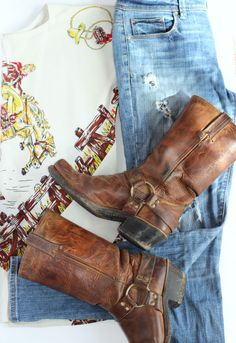 Frye Harness Boots, AEO distressed jeans, Cowboy printed shirt, Anthroplogie, Fashion Blogger, OOTD, Street style, western inspired fashion