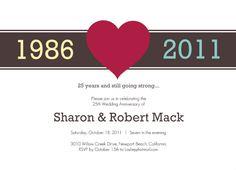 Red Heart Anniversary  Invitation by PurpleTrail.com