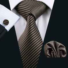 """3pc Silk Necktie Set Color: Brown 59"""" Length, 3.4"""" Width Matching cufflinks and pocket square"""