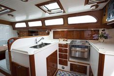 Morris Yachts Galley See more of her here: Sailboat Interior, Yacht Interior, Interior Design, Sailboat Decor, Interior Ideas, Cruiser Boat, Cabin Cruiser, Small Yachts, Sailboat Living