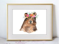 Woodland Flowers - Bear Addition - Boho Illustration Watercolor Painting Print - Home decor and wall art by KelseyMDesigns on Etsy https://www.etsy.com/listing/469749846/woodland-flowers-bear-addition-boho