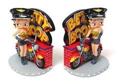 VoojoStore Betty Boop Biker Bookends Perfect Gift For Men Women Couples Grandpa Father Mother Engagement Wedding Anniversary Christmas Birthday Him Her Sister Wife Husband * You can get additional details at the image link. Betty Boop, Biker, Cartoon Painting, Adult Cartoons, Christmas Birthday, Decorative Accessories, Bookends, Christmas Decorations, Hand Painted