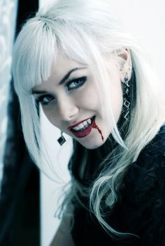 A female vampire with blood dripping down her face and smiling. Vampire Photo, Vampire Love, Gothic Vampire, Vampire Books, Vampire Art, Vampire Series, Hot Vampires, Vampires And Werewolves, Dark Beauty