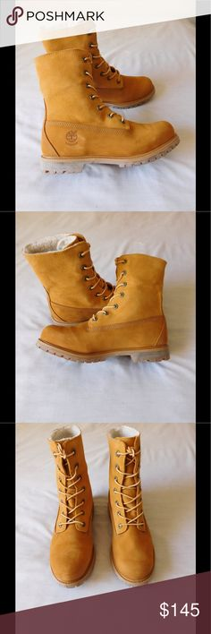 95a8ebb79848 Majestic Tan Timberland Boots W Fur Trim NWOT. These pair of fold