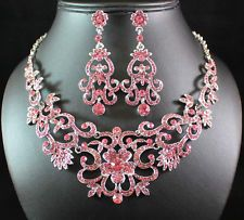 Unique Jewelry - GORGEOUS PINK AUSTRIAN RHINESTONE CRYSTAL BIB NECKLACE EARRINGS SET BRIDAL N1515