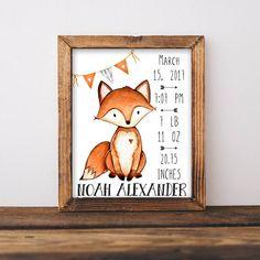 Birth Stats. Fox Birth Stats Wall Art. Orange and Gray Nursery