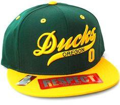 Oregon Ducks Flat Visor Script Snapback Hat Cap Green Yellow NCAA. $18.88
