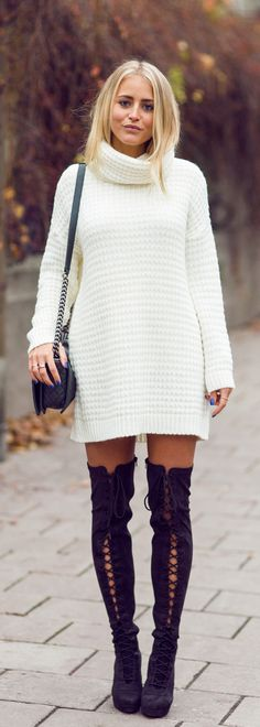 Janni Deler is wearing a over the knee lace-up boots designed by Rebecca Stella