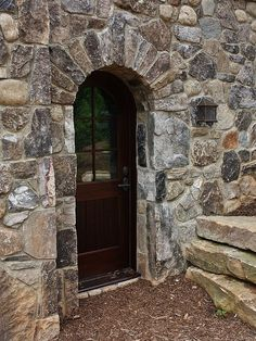 like the stone work... nice back or side door entry way...