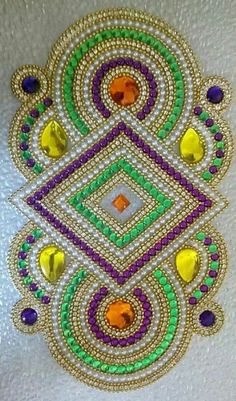 make with perler beeds Rangoli Designs Images, Beautiful Rangoli Designs, Dot Painting, Fabric Painting, Beaded Embroidery, Hand Embroidery, Crafts To Make, Arts And Crafts, Acrylic Rangoli