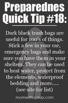 A list of how you can use trash bags in your emergency preparedness     Mom with a Prep