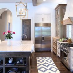 Farmhouse Kitchen, Alex and Cynthia Rice- Custom home builders and design team along along Florida's Gulf Coast {Seaside, Watercolor, Seagrove & Sandestin} New Kitchen, Kitchen Dining, Kitchen Decor, Kitchen Island, Dining Room, Kitchen Cabinets, White Cabinets, Kitchen Runner, Kitchen Layout