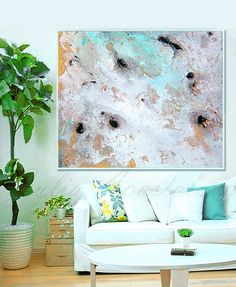 Title: Winter Whisper  Minimalist Abstract Painting Print on Canvas. Available sizes are shown in the SELECT A SIZE drop down menu above the ADD TO CART button.  ♥ PRINT SIZE: 40 x 34 46 x 38 52 x 42 If you need a different size, please contact with me.  It is printed on 100% Cotton Canvas.  ♥ The Print Options are: 1 - No wrap (Unstretched) will be shipped Rolled In A Cardboard Tube (with an extra 2.3 white border for frame or stretching by your framer). 2 - Ready to Hang (Stretched Canvas)…