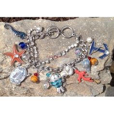 Nautical Colorful Anchor Starfish Turtle Fish Coral Reef  Shell Large Charms Loaded Silver Toggle Bracelet