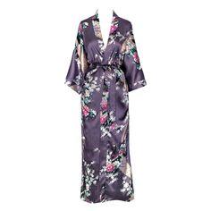 Kimono Long Robe - Peacock and Blossoms (dusk)