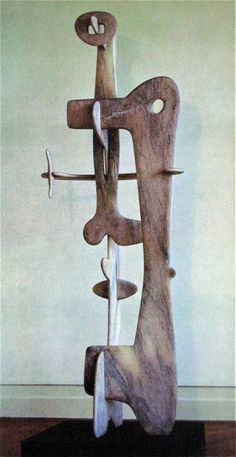 """Isamu Noguchi - Kouros, 1945. Metropolitan Museum, N.Y.   """"Kouros"""" illustrates the biomorphic vocabulary that Noguchi devised in order to abstract the human figure into fragmented, bonelike elements.Noguchi always contended that the organic quality of his work came not from Surrealist examples but from his familiarity with traditional Japanese arts and crafts—bells, samurai swords, and floral arrangements. (Met)"""