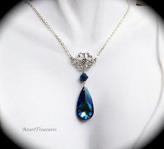 Bermuda Blue Crystal Necklace Antiqued Silver by AzureTreasures, $45.00