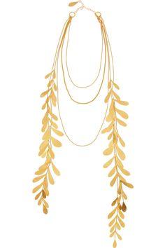 Hervé Van der Straeten|Hammered 24-karat gold-plated leaf necklace|NET-A-PORTER.COM