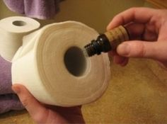 Fill your bathroom with an everlasting, fresh aroma! Simply place a few drops of essential oil (I use Lemongrass scent) onto the cardboard tube of your toilet paper roll--your bathroom will smell amazing until the roll is complete and you begin again!
