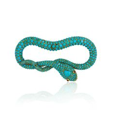 Antique pavé turquoise coiled serpent brooch with garnet eyes in 18k gold.  Available at Kentshire.