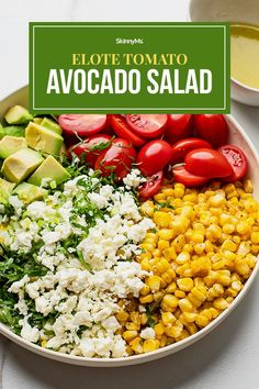 This crunchy and creamy salad combines the flavors of roasted corn, tomato, avocado, and cotija, topped with lime.