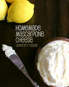 This recipe for homemade mascarpone cheese only requires 2 ingredients! Cheese Recipes, Snack Recipes, Cooking Recipes, Cream Cheese Ball, Butter Cheese, How To Make Cheese, Making Cheese, Mascarpone Cheese, Butter Recipe
