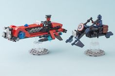 Captain America & Red Skull race around on their speeders
