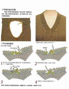great visual instructions for beautiful v-neck ribbing.