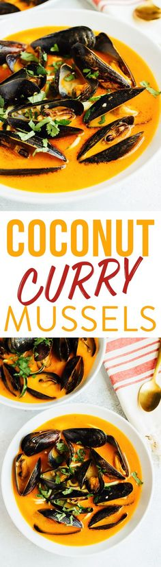 EASY COCONUT CURRY MUSSELS WITH ZUCCHINI NOODLES // paleo and gluten-free @peimussels #peimusselsonthemenu #ad