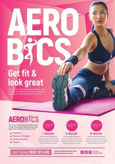 Free Aerobic Poster and Flyer Template - Free Flyer Fitness Flyer, Fitness Tips, Yoga Trainer, Free Psd Flyer Templates, Yoga Images, Professional Business Card Design, Workout Posters, Aerobics Workout, No Equipment Workout