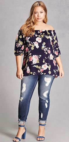 Plus Size Satin Floral Blouse