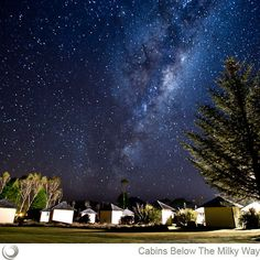 Discovery Lodge cabins below the Milky Way. Where we'll stay when we do the Tongariro Crossing in April. :)