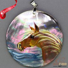 FASHION NECKLACE HAND PAINTED HORSE SHELL PENDANT  ZL304744 #ZL #Pendant