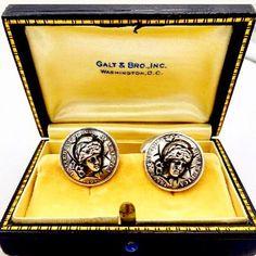 1904 Silver Barber Dime Repousse Cufflinks by Malilet & Kepler #antiquecufflinks #gotvintage #barberdimes #silverdimecufflinks