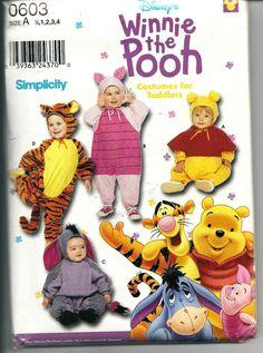 Winnie the Pooh Costume - Disney Costume Pattern - Uncut Simplicity 0603 -Size 1 2 3 4 - Pooh, Tigger, Eeyore & Piglet by SunshineRd on Etsy